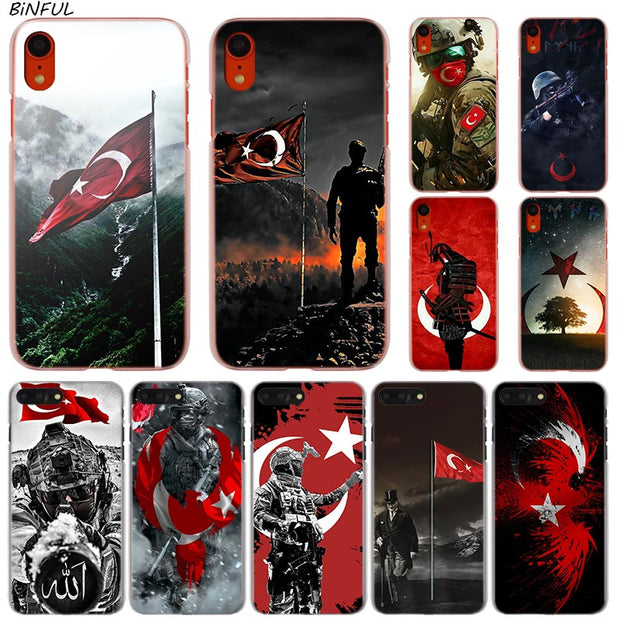 Turkey Flag Soldier Hot Fashion Transparent Hard Phone Cover Case For IPhone X XS Max XR 8 7 6 6s Plus 5 SE 5C 4 4S