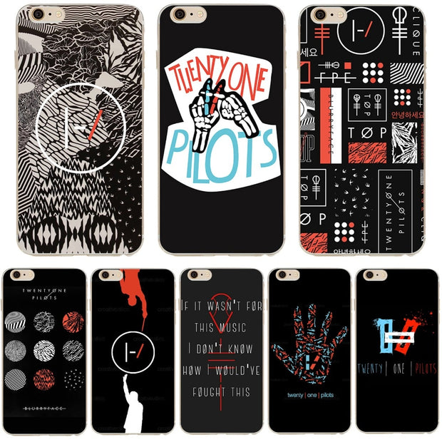 the best attitude 9deb2 58a4b Twenty One Pilots Phone Case For Iphone 7 5s 6 SE 6s 5 6plus 7plus Fundas  21 Collages Silicone Soft Clear Ultra Thin TPU Cover