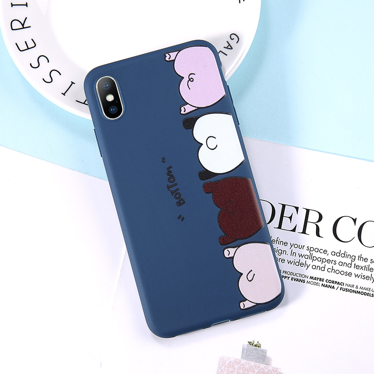 Uslion Funny Cute Cartoon Bottom Phone Case For Iphone 6 7 8 Plus X Xr Xs Max Cases For Iphone 6 6s Plus Soft Tpu Silicon Cover