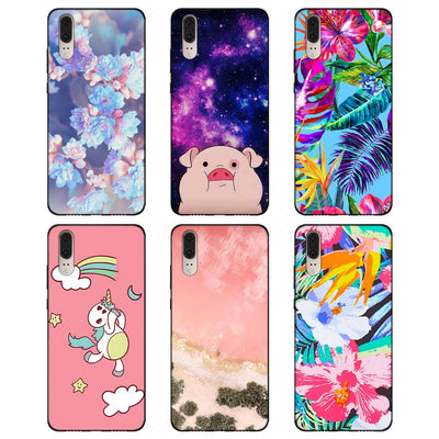 Unicorn Pink Space Rose Flower (Soft TPU Silicone Black Cases Cover For Huawei P8 P9 Lite 2017 P10 P20 Lite Mate 10 Lite P Smart