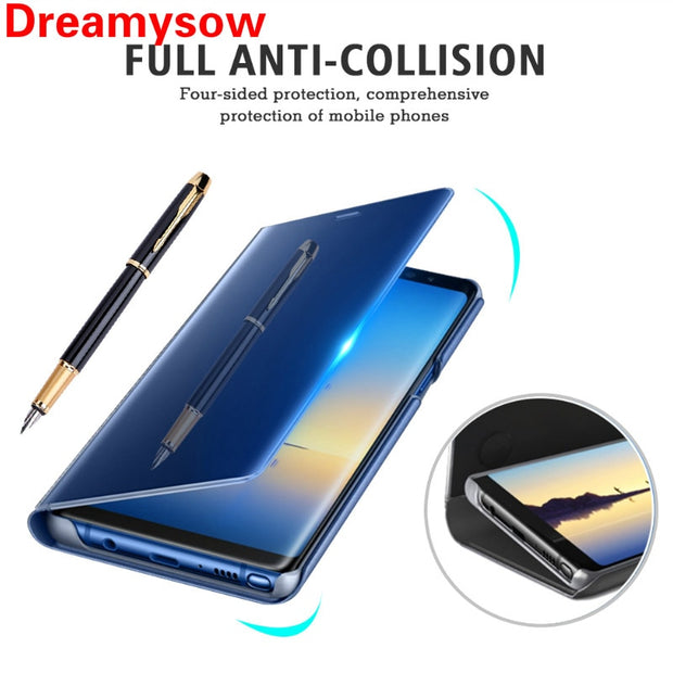 Unique Mirror Smart View Flip Cover Phone Case For Samsung Galaxy Note 5 9 S9 S8 S7 S6 Note 8 A6 A8 2018 A3 A5 A7 2017 J6 Case
