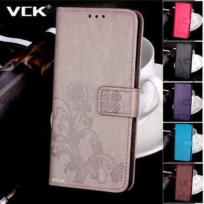 VCK For One Plus OnePlus 5 Five OnePlus 3 3T Tree Four Leaf Clover TPU Case Flip Leather Wallet Phone Case