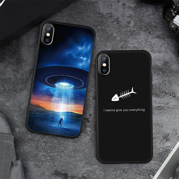 VEVICE Soft Matte TPU Case For IPhone XS Max XR 6 6S 7 8 Plus Silicone Cover Planet Crown Feather Spider Pattern Fundas Coque