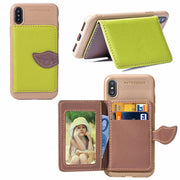 VIAERSON Leaf Card Wallet Case For IPhone 7 8 Plus Mobile Phone Accessory PU Leather Phone Case For IPhone6 6s Plus Luxury Cover