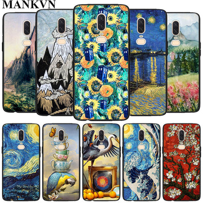 Van Gogh Star Flower Black Soft Silicone Cases Cover For Oneplus 6 6T 5T Rubber TPU Back Phone Case