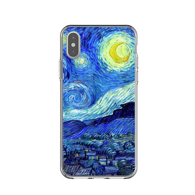 Van Gogh Starry Night Sunflower Silicone Soft TPU Back Cover Phone Cases For Iphone 5 5s SE 6 6S Plus 7 8 Plus X XS XR XS MAX