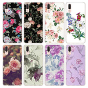 Villa Flora Pink Rose Pattern Transparent Hard Phone Cover Fundas Coque For Huawei P8 P9 Lite 2017 P10 Lite P20 Lite P Smart