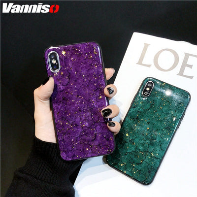 Vintage Glitter Dark Green Crack Case For Iphone 7 8 Plus XS MAX Gold Foil Marble Cases For Iphone XR XS 8 7 6S 6 Soft Silicone
