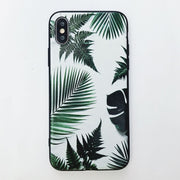 WOTP Summer Fashion Green Leaves Phone Case For Iphone 7 6 6S 8 Plus Cute Kinds Of Leaf Soft Relief Back Cover For Iphone X HOT