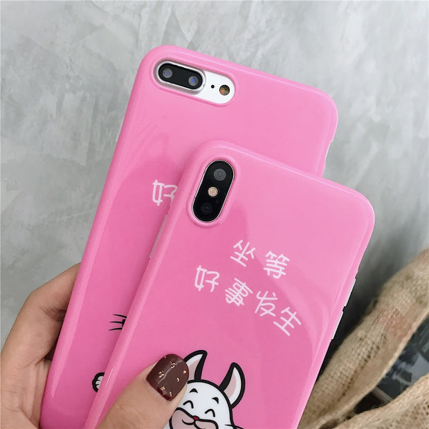 Wait For Good Things Happen Lovely Rabbit Soft For IPhone 7 Case Cute Cartoon IMD Covers For IPhone X 6S 6 7 8 Plus Phone Case