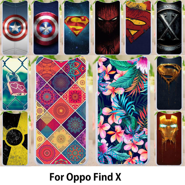 Walcox Patterned Soft Case For Oppo Find X Case Antil-knock Cover Coque For Oppo Find X Silicone Housing Find X Bags Coque