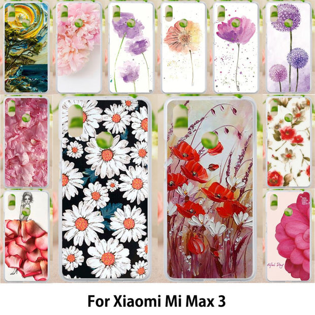 Walcox Patterned Soft Case For Xiaomi Mi Max 3 Case Antil-knock Cover For Xiaomi Mi Max 3 Silicone Bag Housing Flowers
