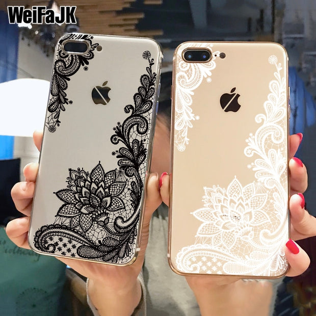 WeiFaJK Luxury Lace Silicone Case For IPhone 6 6s 7 8 Plus 5s Cases Flower For IPhone Case 7 8 Plus X Soft TPU Back Cover Coque