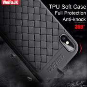 WeifaJK Luxury Soft Ultra Thin Back Cover Cases For IPhone 6 6s 7 8 Plus X Case Leather Weave TPU Cases For IPhone X 8 7 6 Coque