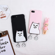XINGYUANKE 3D Case For OPPO F1S Case Cute Cartoon Middle Finger Cat Coque For OPPO A59 A59S Case Soft Silicone Slim Cover Capa
