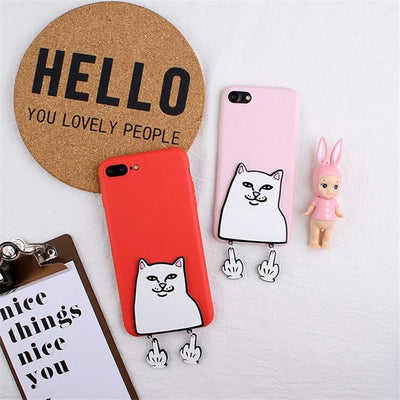 XINGYUANKE 3D Case For OPPO R11 Plus Case Cute Cartoon Middle Finger Cat Coque For OPPO R11S Plus Case Soft Silicone Slim Cover