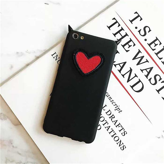 XINGYUANKE 3D Phone Case For Samsung Galaxy J4 2018 Case Luxury Love Heart Devil Horns Coque For Samsung J400F Silicone Cover