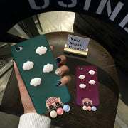 XINGYUANKE Cute 3D Clouds Phone Case For OPPO A53 Case Luxury Car Pearl Pendant Coque For OPPO A53 Candy Color Silicone Cover