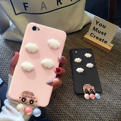 XINGYUANKE Cute 3D Clouds Phone Case For OPPO A57 Case Luxury Car Pearl Pendant Coque For OPPO A39 Candy Color Silicone Cover