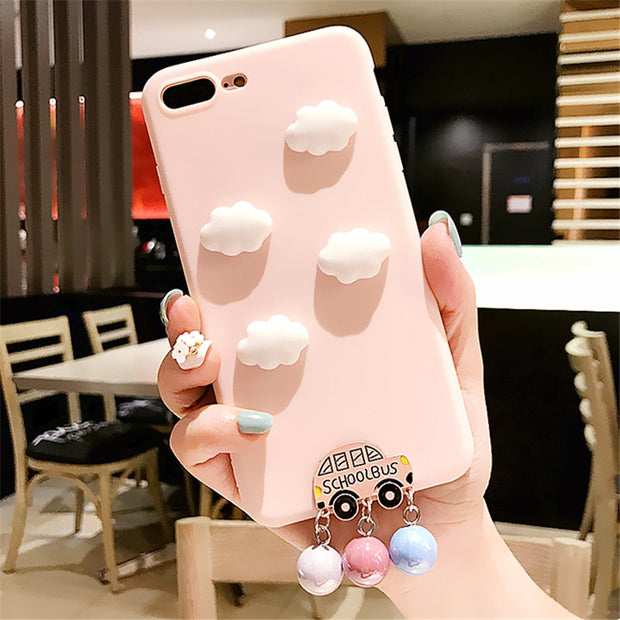 XINGYUANKE Cute 3D Clouds Phone Case For OPPO A77 Case Luxury Car Pearl Pendant Coque For OPPO F3 Candy Color Silicone Cover