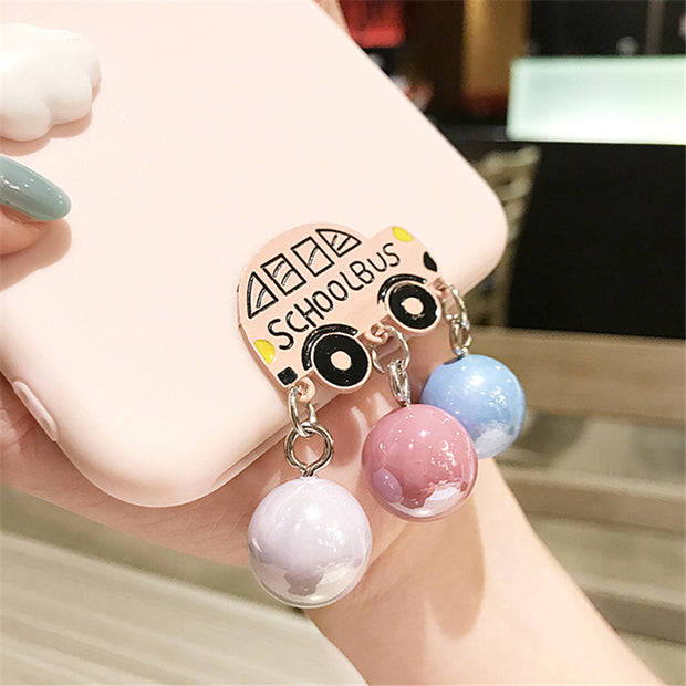 XINGYUANKE Cute 3D Clouds Phone Case For Xiaomi Mi Note 3 Case Luxury Car Pearl Pendant Coque For Xiaomi Note 3 Silicone Cover