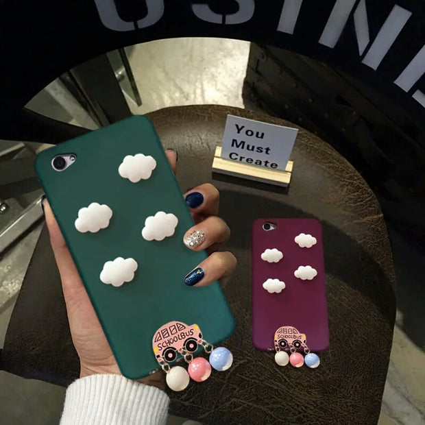 XINGYUANKE Cute Clouds Phone Case For OPPO R11 Case Luxury Car Pearl Pendant Coque For OPPO R11 Plus Candy Color Silicone Cover