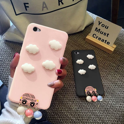 XINGYUANKE Cute Clouds Phone Case For OPPO R7S Case Luxury Car Pearl Pendant Coque For OPPO R7S Candy Color Silicone TPU Cover