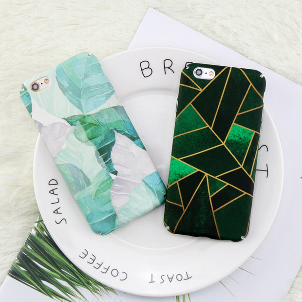 XSY&G On For Iphone 6 Case Geometric Graphic PC Cover On For Iphone 7 6 6S 8 Plus Cases Plants Leaf Coque On For Iphone 8 Case