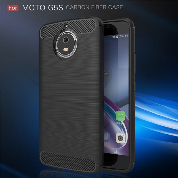 Xinchentech For MOTO G5S Case Luxury Carbon Fiber Silicone Soft Back Cover Phone Accessory Coque For Motorola G5S/XT1793 5.2""