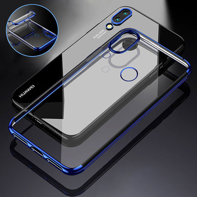 YISHANGOU Plating Frame Transaprent Phone Case For Huawei P20 Lite NOVA3E Soft TPU Silicon Cover For Huawei P20 Plus P20Pro Capa