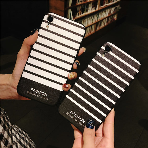 YISHANGOU Stripe Pattern Phone Case For IPhone XS Max XR X 7 8 Plus Black White Stripes Soft Silicon Protective Shockproof Cover
