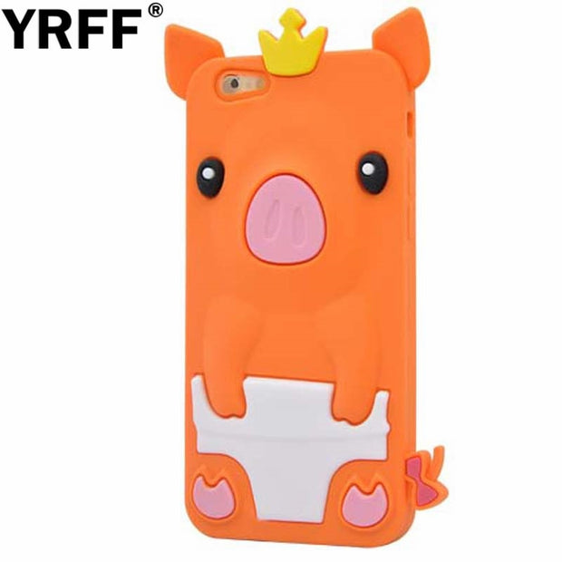 YRFF Animal Cartoon Crown Pig Model Silicon Soft Back Case Cover For Iphone 5 5s 6 6S For IPhone 5G SE 6s 6 Phone Cases Shell