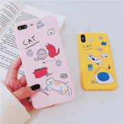 YRFF Fashion Play Cat Phone Case For Iphone X XS Cartoon Cute Cat Soft Cases Cover For Iphone 7 8 Plus 6 6s Plus Case Coque