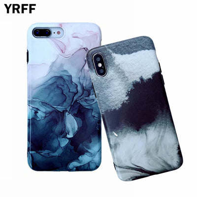YRFF Watercolor Painting Phone Case For Iphone XS MAX XR Soft Case For Iphone 6 6S 7 8 Plus Abstract Painting Cover IMD Cases