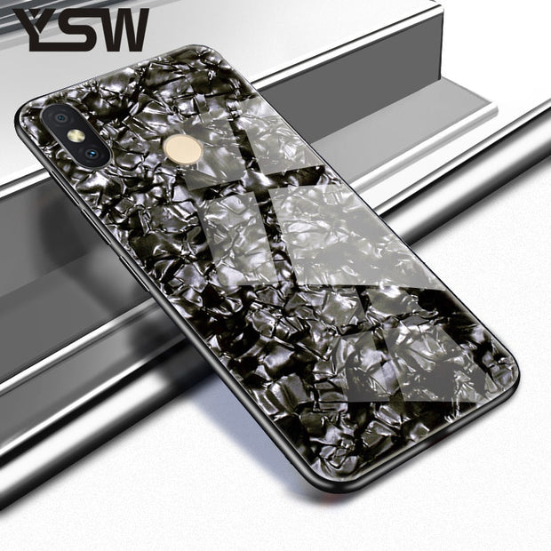 YSW For Xiaomi Redmi Y2 India Case Soft TPU Edge Bling Tempered Glass Case Back Cover Coque For Xiaomi Redmi Y 2 Cover