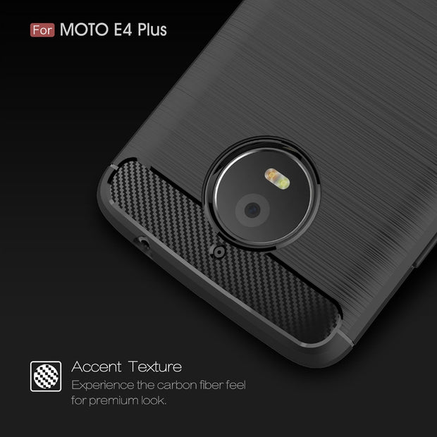 YUEYAO Carbon Fiber TPU Drawing Cases For Motorola E4 E4 Plus Cover Shockproof Soft Rubber & TPU Case