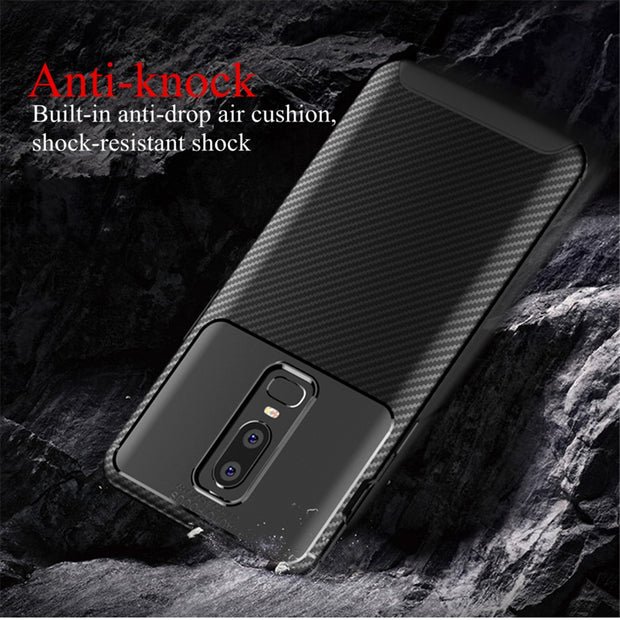 YX Phone Case For Oneplus 6 Luxury Carbon Fiber Soft TPU For Oneplus 6T Phone Case Shockproof Protect Back Cover Bags Shell