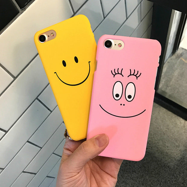 Yellow Ultra Thin Matte Plain Back Cover For Iphone7 Case Funny Smile Yellow Case For IphoneX 6 6s 6plus 7plus 8 8plus Backcover