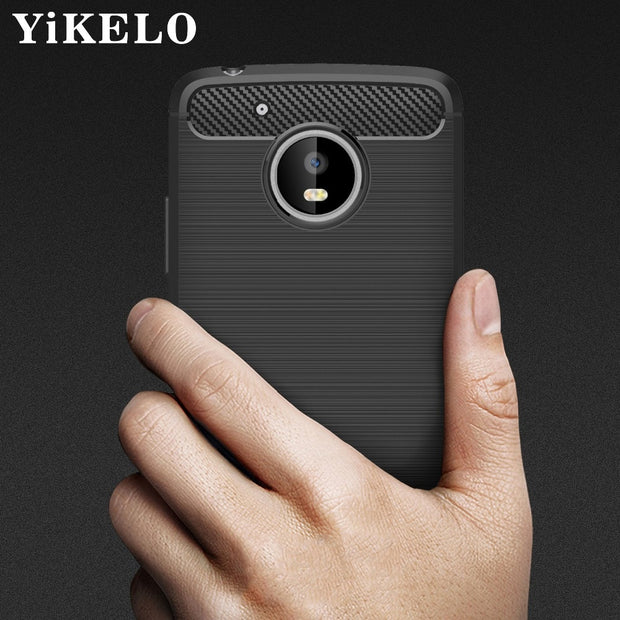 YiKELO Case Soft Silicon Case For Moto Motorola G4 G5 Plus Play G3 E3 M Z Play Force Capa Carbon Fiber TPU Cover Back Cover