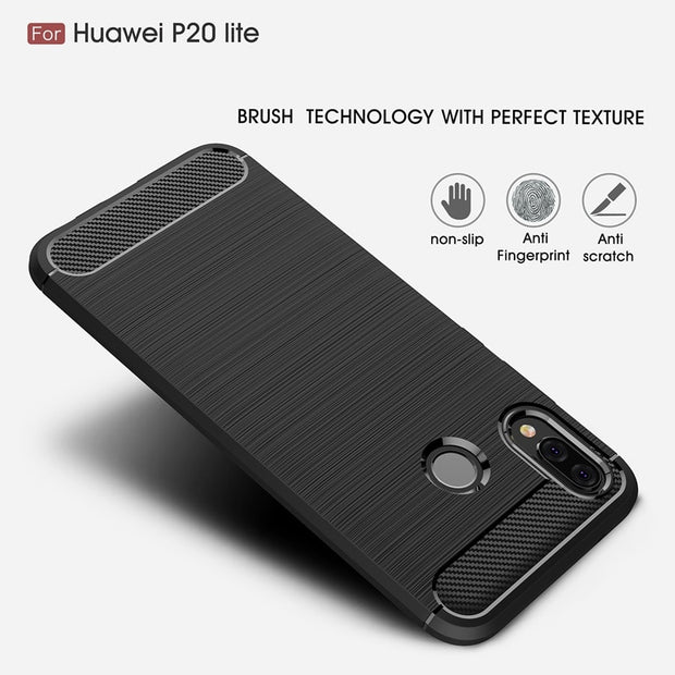 YiKELO Soft Silicon Carbon Fiber TPU Cover Case For Huawei P20lite P20 Lite Phone Protection Back Coque Capa Cases For Nova 3e