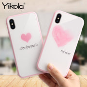 Yikola TPU Phone Case For IPhone X 7 8 Case Love Heart Pattern Pink Glass Cover For IPhone 6 6s 7 8 Plus Fundas Coque Cover