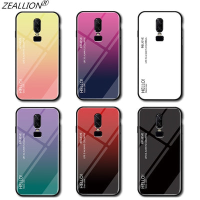 ZEALLION For OnePlus 6 Gradient Tempered Glass Back Cover Colorful Soft Edge Case