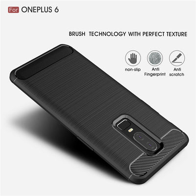 ZEALLION For OnePlus 6 Luxury Slim Brushed Carbon Fiber Shockproof Soft TPU Phone Cases Cover