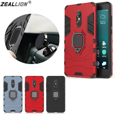 ZEALLION For Xiaomi Mi5x Redmi Note 4 4X 5 Magnetic Suction Finger Ring Case Car Holder Stand Hybrid Cover