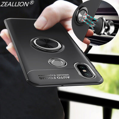 ZEALLION For Xiaomi Mi6x 8 8SE Max 2 Redmi S2 Note 5 Pro Case 360 Rotating Magnetic Car Holder Metal Finger Ring Phone Cover