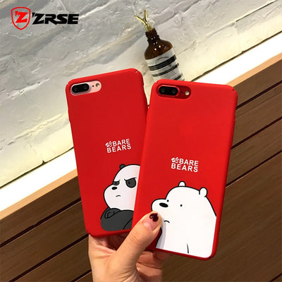 ZRSE Matte Hard Phone Case For IPhone XS Max XR X 10 Cute Red Bear Cover Pattern For IPhone 7 8 Plus 6 6s Phone Full Case Funda