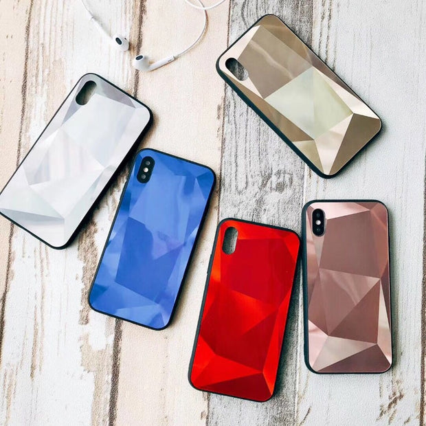 ZUCZUG 3D Cool Mirror Case For IPhone XS MAX XS XR X Blue Ray Diamond Cases For IPhone 7 8 Plus 6 6s Plus Fashion TPU+PC Cover