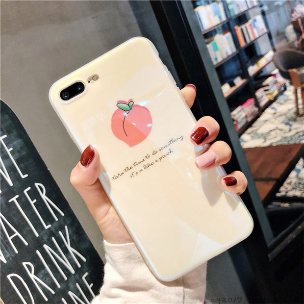 ZUCZUG Cute Peach Fruit Case For IPhone 7 7 Plus 8 8 Plus 6 6s 6s Plus Soft TPU Cases For IPhone XS MAX XR X XS Cartoon Cover