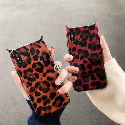 ZUCZUG Leopard Case For IPhone XS MAX XR XS Devil Horn Cases For IPhone 8 Plus 7 Plus 6 6s 6s Plus Glossy TPU Cover 2019 NEW