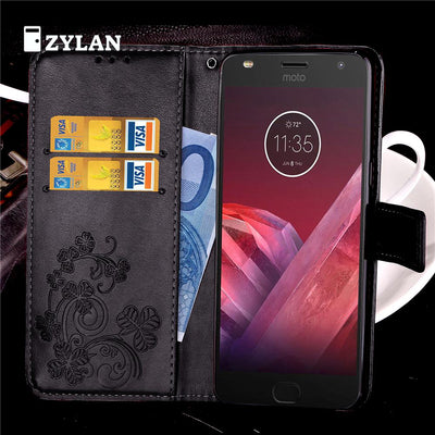 ZYLAN Vintage Flip PU Leather Case Cover Stand Wallet For Motorola Moto Z Z Force Z Play Z2 PALY & FREE GIFT